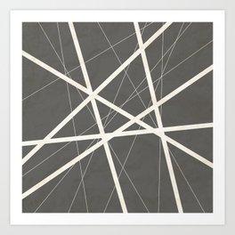 White Lines Retro Texture Art Print