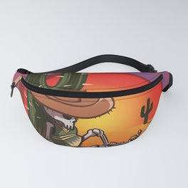 Cactus and skeleton in Sunset Fanny Pack