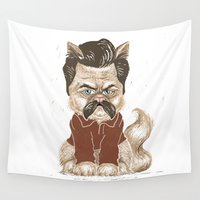 swanson Wall Tapestries featuring Ron Swanson Cat  by Suzanne Head