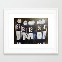 patriots Framed Art Prints featuring Patriots Football by Pink Petals Paintings