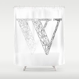 ''Geometry Collection'' - Minimal Letter W Print Shower Curtain