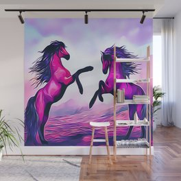 Wild Horses Playing Wall Mural