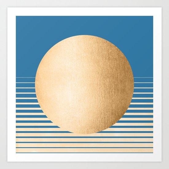 Sun Gradient - Orange Sherbet Shimmer on Saltwater Taffy Teal Art Print
