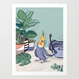 Cockatiel and House Plants Art Print