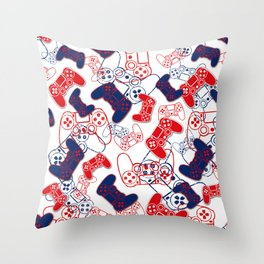 Video Games Red White & Blue 3 Throw Pillow