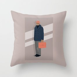Trilby and Briefcase Throw Pillow