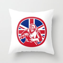 British Sandblaster Union Jack Flag Throw Pillow