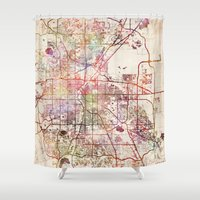denver Shower Curtains featuring Denver by MapMapMaps.Watercolors