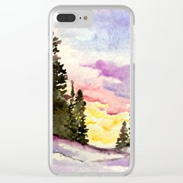 Winter Sunset Watercolor Clear iPhone Case