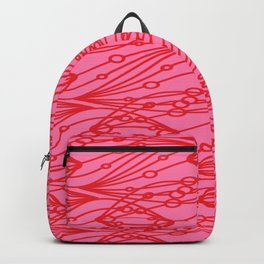 Pink molecular helix with diagonal circles on strawberry background. Backpack