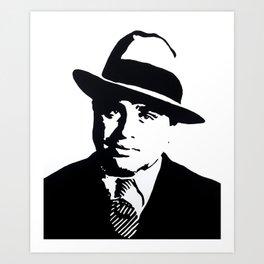 "Al Capone painting, hand painted acrylic piece of art on canvas, 50x60cm / 20x24"". Pop Art. Art Print"