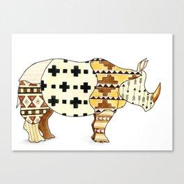 Tribal Rhino Canvas Print