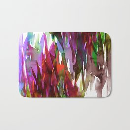FERVOR 3 Colorful Bold Abstract Autumn Fall Crimson Red Purple Mauve Green Watercolor Painting Art Bath Mat