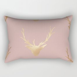 Gold Foil Deer, Wall Tapestry, Art-Prints, Deer Art Prints, Nature Rectangular Pillow