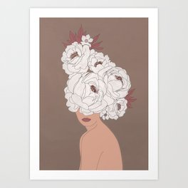 Woman with Peonies Art Print