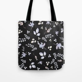 Spring watercolor leaves & tulips on charcoal background Tote Bag