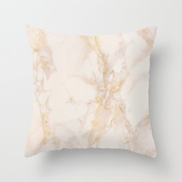 Gold Marble Natural Stone Gold Metallic Veining Beige Quartz Throw Pillow