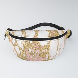Gold Marble - Intense Glittery Yellow and Rose Gold Marble Fanny Pack