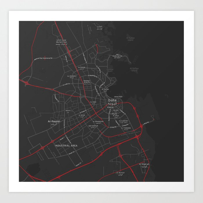 Minimalist Modern Map of Doha, Qatar 2 Art Print by asarstudios on alexandria area map, kyoto area map, rotterdam area map, cairo area map, qatar area map, hangzhou area map, narita area map, hyderabad area map, berlin area map, beijing area map, baghdad area map, kowloon area map, warsaw area map, bahrain area map, lilongwe area map, phnom penh area map, macau area map, mosul area map, kuala lumpur area map, bilbao area map,