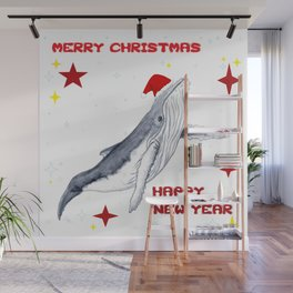 Merry Christmas Season greetings for whale lovers Wall Mural