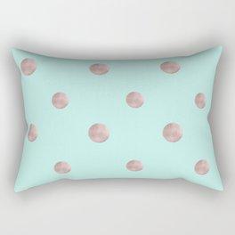Happy Polka Dots Rose Gold on Mint #1 #decor #art #society6 Rectangular Pillow