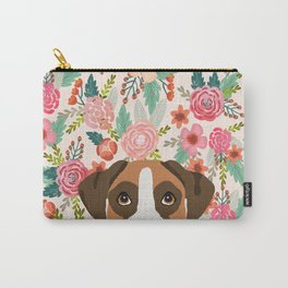 Boxer floral dog head cute pet portrait gifts for Boxers must haves Carry-All Pouch