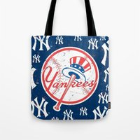 yankees Tote Bags featuring NY YANKEES by I Love Decor