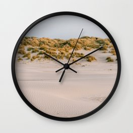 Sunset at the Dunes of Terschelling || Travel Photography || Pastel color Fine art coastal sea ocean minimalistic Wall Clock