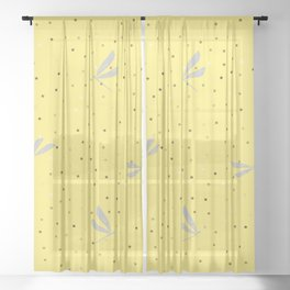 Silver Dragonfly Christmas seamless pattern and Gold Confetti on Yellow Background Sheer Curtain