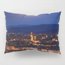 Panorama of Duomo Santa Maria Del Fiore, tower of Palazzo Vecchio. Pillow Sham