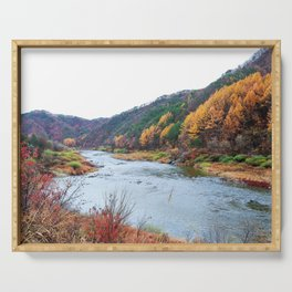 Scenic Fall Nature Lanscape with Stream and Hills Serving Tray