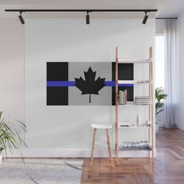 Blue Lives Matter Thin Blue Line Canada Gray Wall Mural