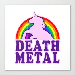 Funny Death Metal Unicorn Rainbow T-Shirt Canvas Print