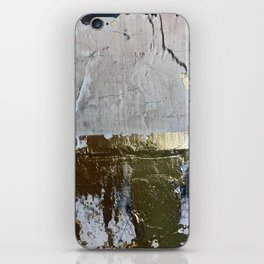 Elegantly Rough: an abstract, minimal piece in gold, pink, black and white by Alyssa Hamilton Art iPhone Skin