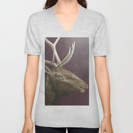 Big Bull Elk Profile Unisex V-Neck