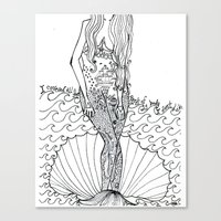 tattoos Canvas Prints featuring tattoos by ivette mancilla