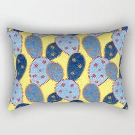 Denim Cactus Patchwork Quilt (Yellow) Rectangular Pillow