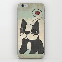Hand Drawn and Quirky Boston Terrier San Jones Illustration iPhone Skin