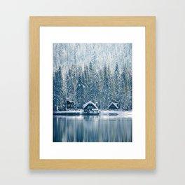 Winter's Cottage (Color) Framed Art Print