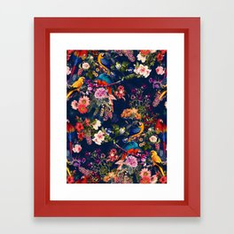 FLORAL AND BIRDS XII Framed Art Print