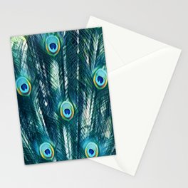 Painted Peacock Feathers Stationery Cards