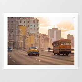 Classic cars and school bus on the Malecon in Havana | Travel photography Cuba Art Print