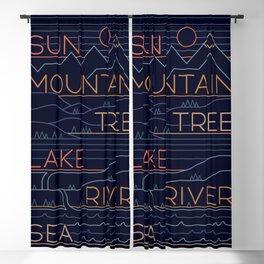 Sun, Mountain, Tree Blackout Curtain