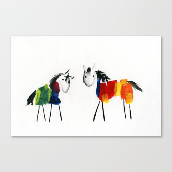 Little Rainbow Ponies Canvas Print
