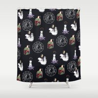 witchcraft Shower Curtains featuring The WitchCraft Of The DarkSide by Robert Payton