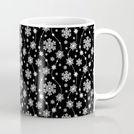 Festive Black and White Snowflake Pattern Coffee Mug