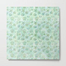 Gold Aqua Mint Watercolor Sea Shells Metal Print