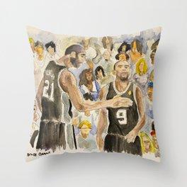 Tim Duncan & Tony Parker_Pro basketball players Throw Pillow