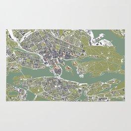 Stockholm city map engraving Rug