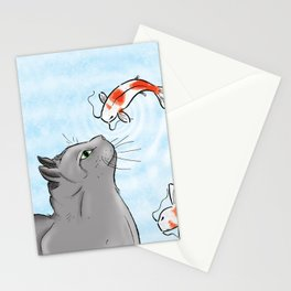Koi and Cat Stationery Cards